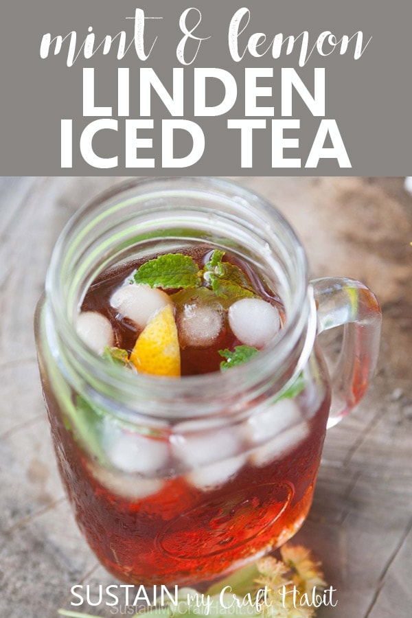 Iced Linden tea infused with lemon and mint in a mason jar mug with ice cubes