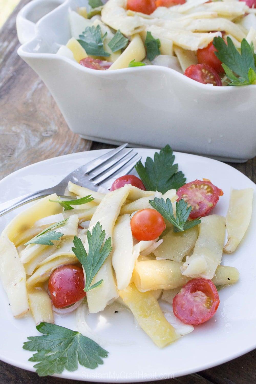 A simple and delicious salad #recipe using fresh pole #beans. #harvest #recipeideas #yummy