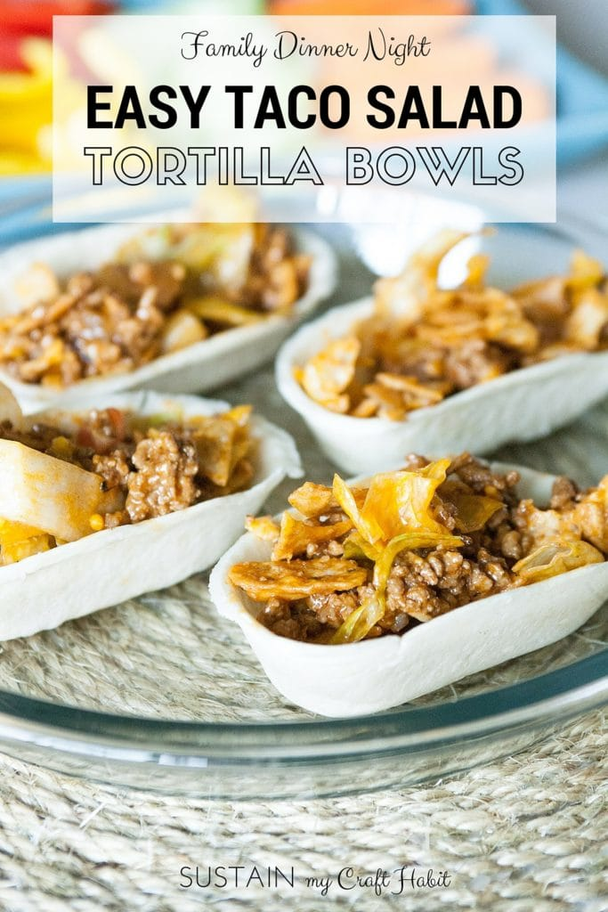 Easy taco salad bites in tortilla bowls on a rope placemat