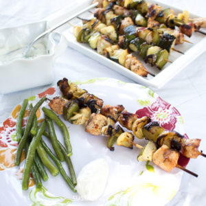 Easy grilled chicken shish kabobs with vegetables