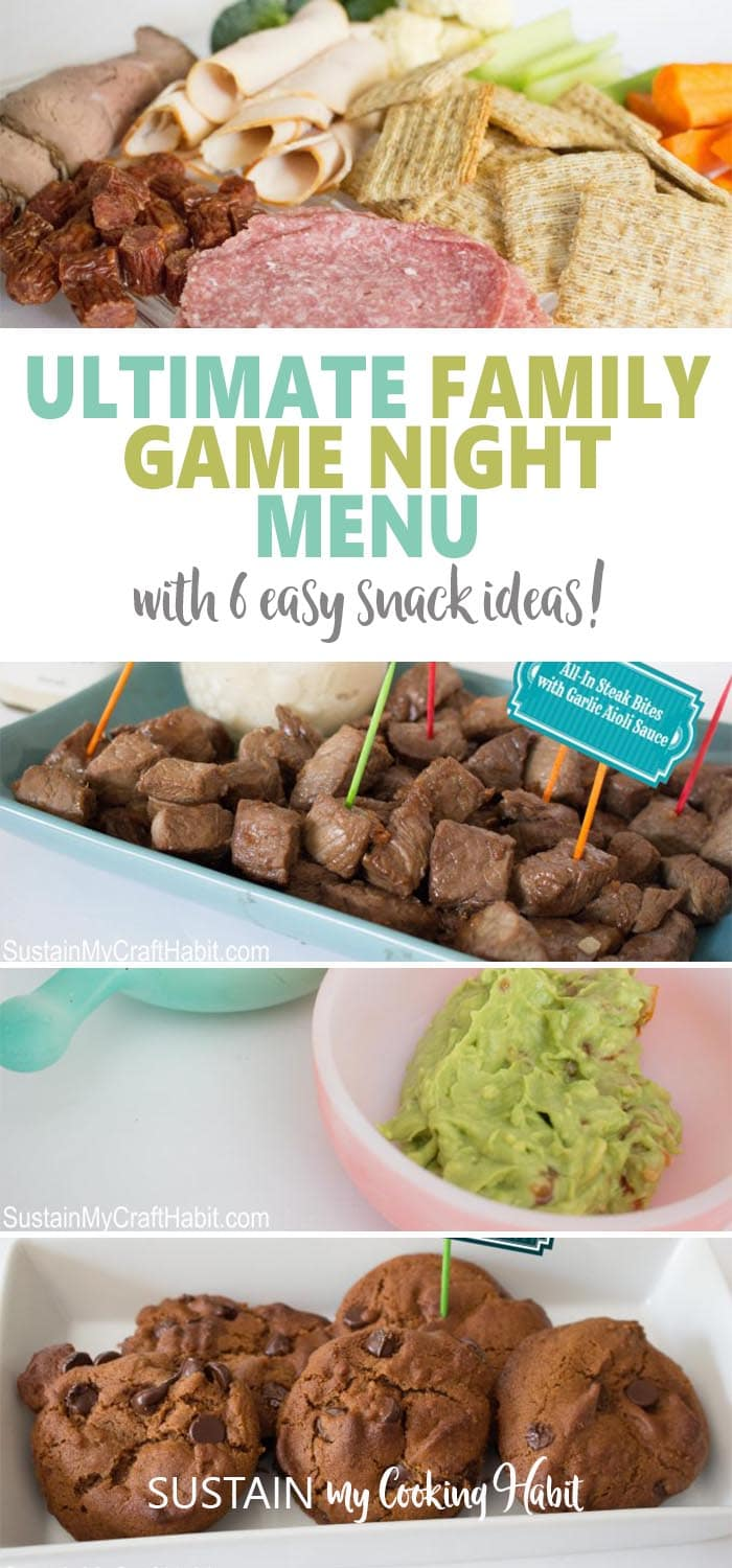 Collage of snack ideas for an ultimate family games night menu including cold cut platter, steak bites, guacamole and ginger cookies.
