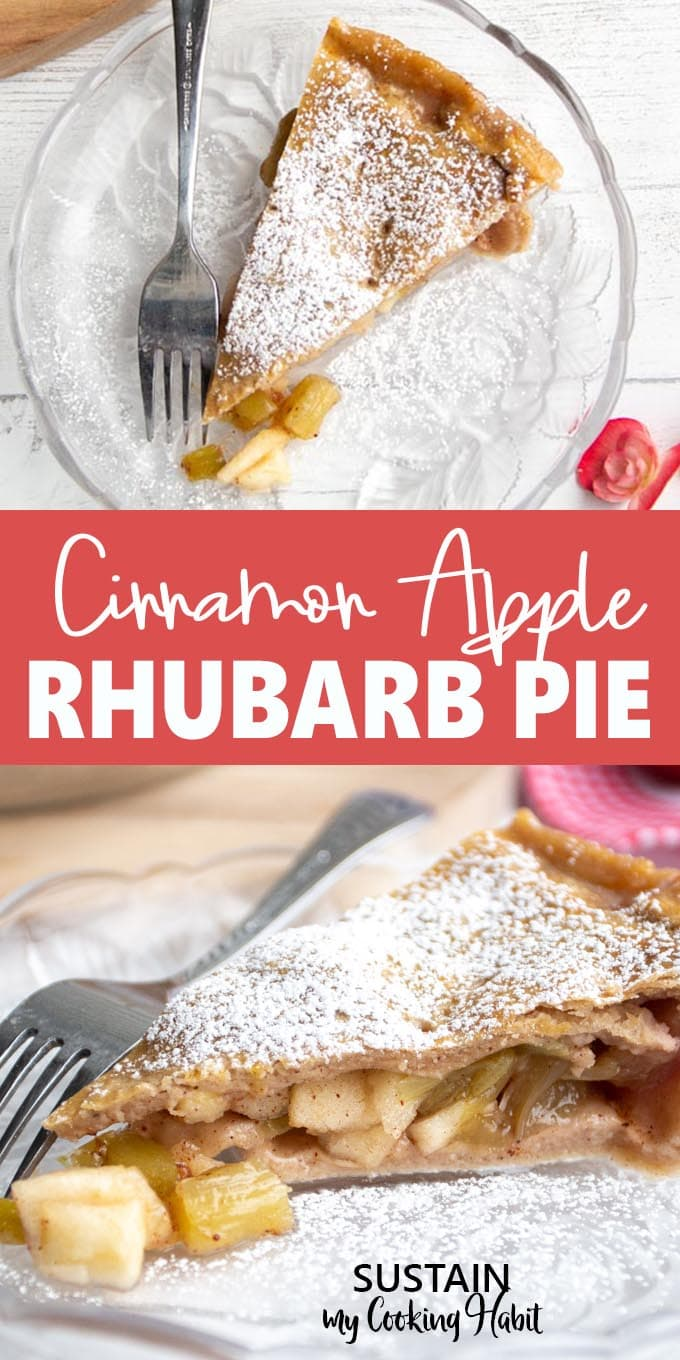Two image collage showing different views of the cinnamon apple rhubarb recipe