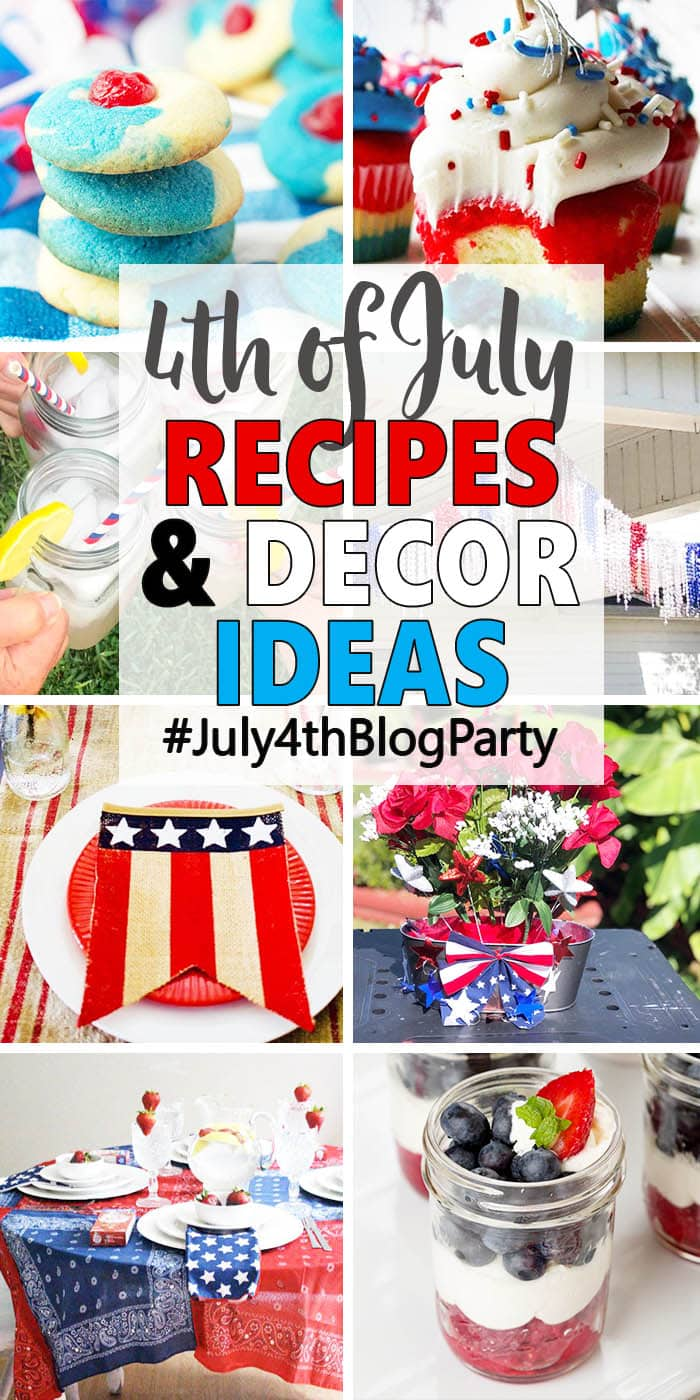 Collage of ideas for celebrating the 4th of July including food, drinks and decorations.