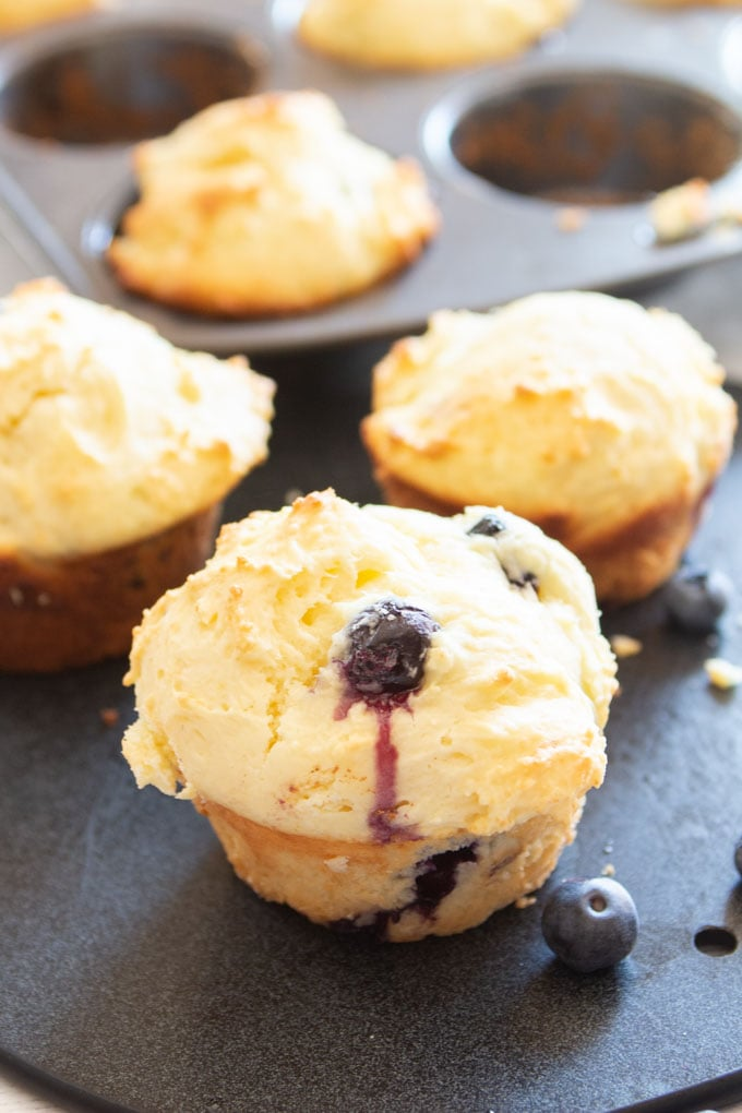 Close up image of one muffin with a juicy blueberry.