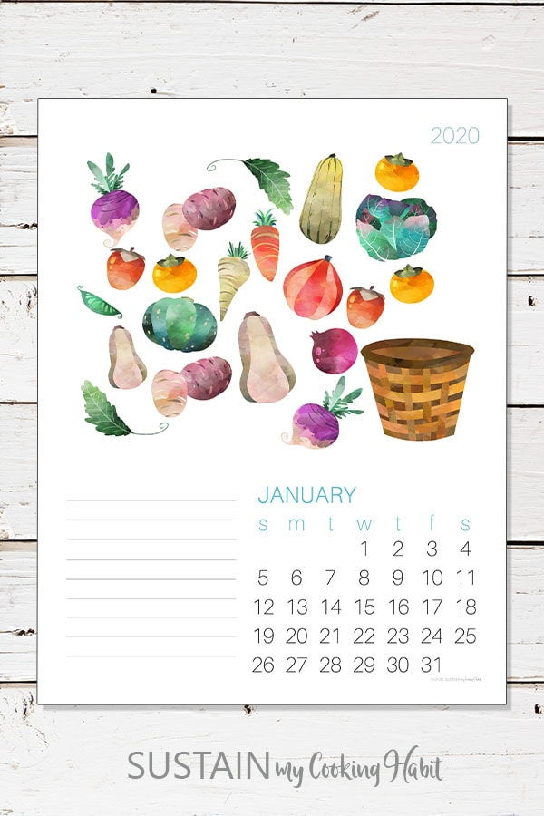 Image of the January 2020 calendar page on a white plank background.