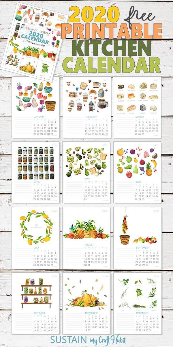 Collage of 2020 monthly calendar pages on a white plank wood background.