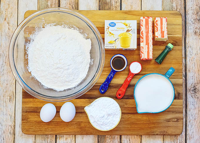 Overhead image of ingredients needed to make the green crinkle cookies recipe.