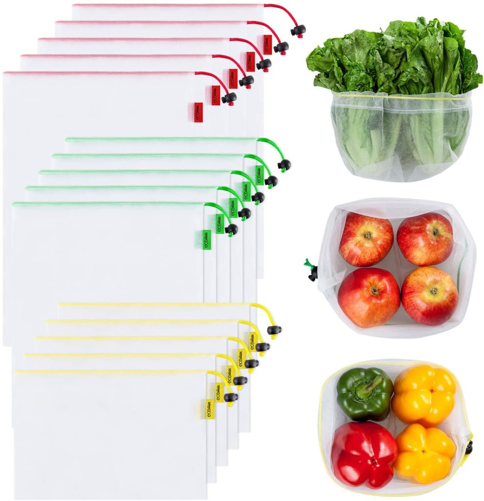 Mesh produce bags with red, green and yellow taps. Bags are different sizes and show the fruit inside, including peppers, apples and lettuce.