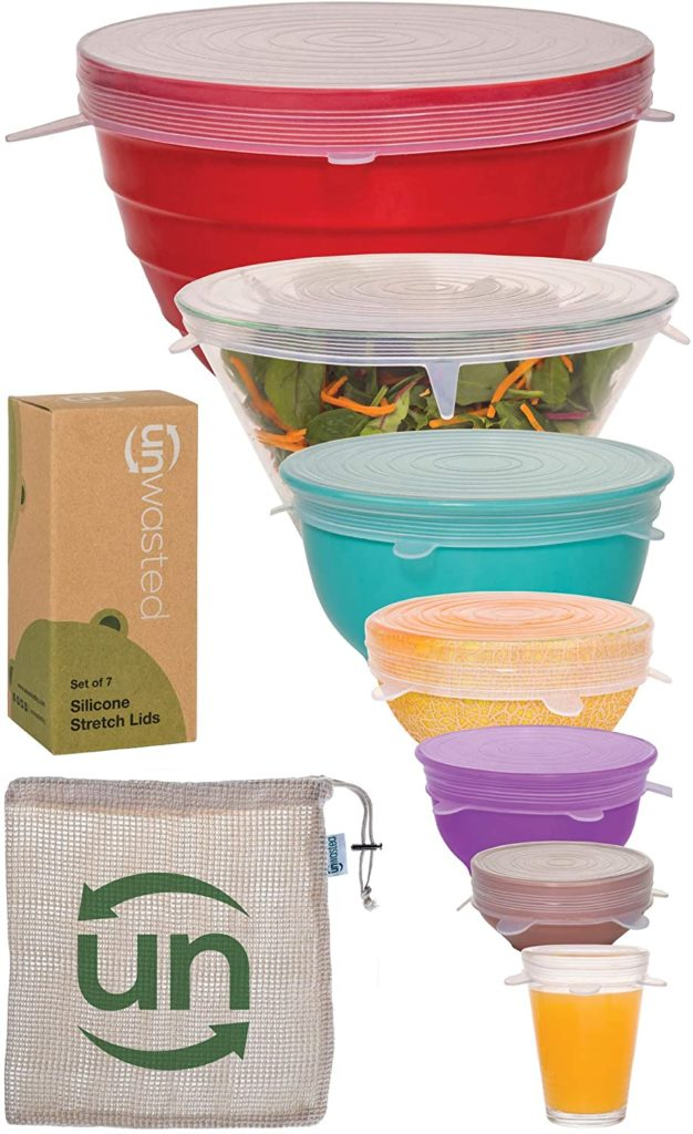 Silicone food wraps covering varying sizes of bowls.