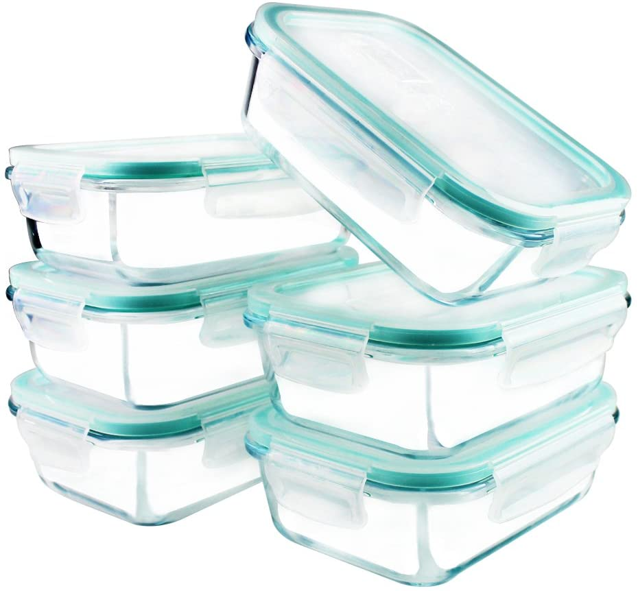 Six glass storage containers with plastic lids.