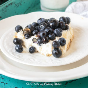 single slice of blueberry cream pie