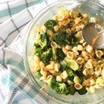 a bowl of delicious non creamy pasta salad