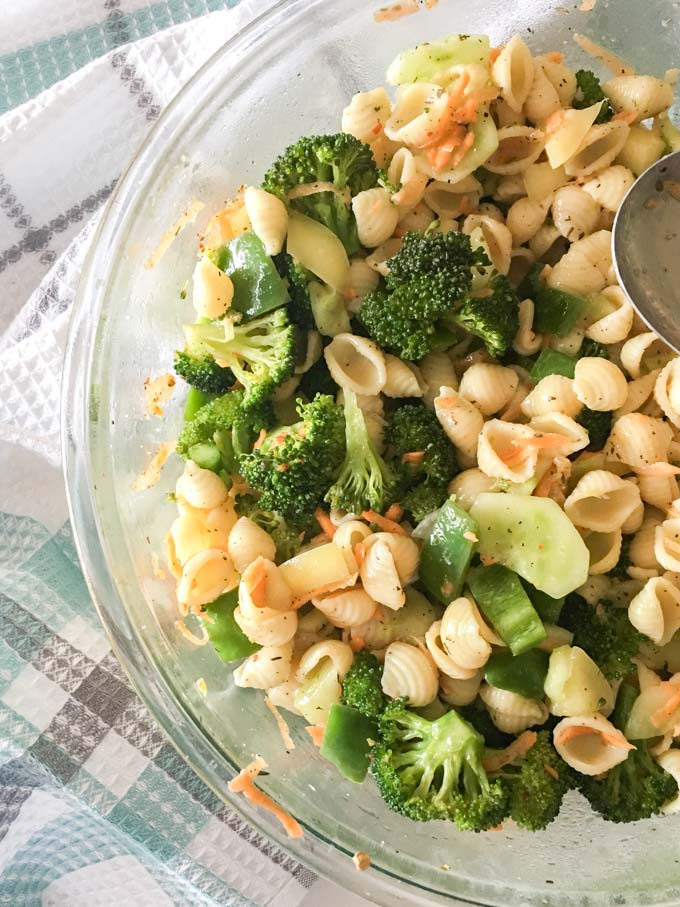 delicious non creamy pasta salad  recipewith a homestyle vinaigrette dressing and fresh veggies