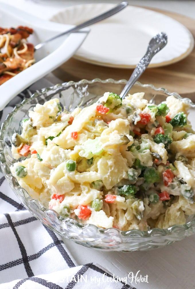 delicious bowlful of creamy dill pickle potato salad