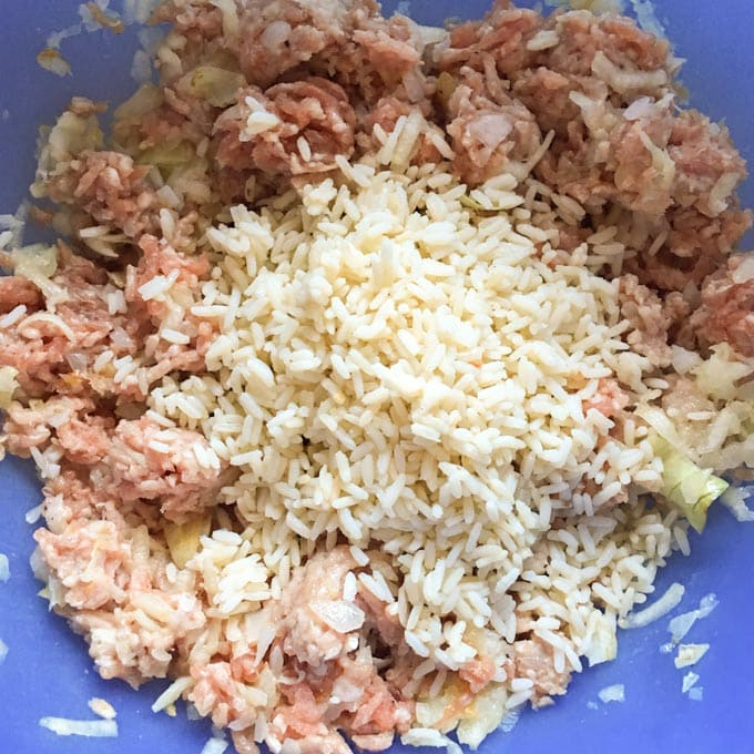 Mixture with cooked rice and meat in a bowl.
