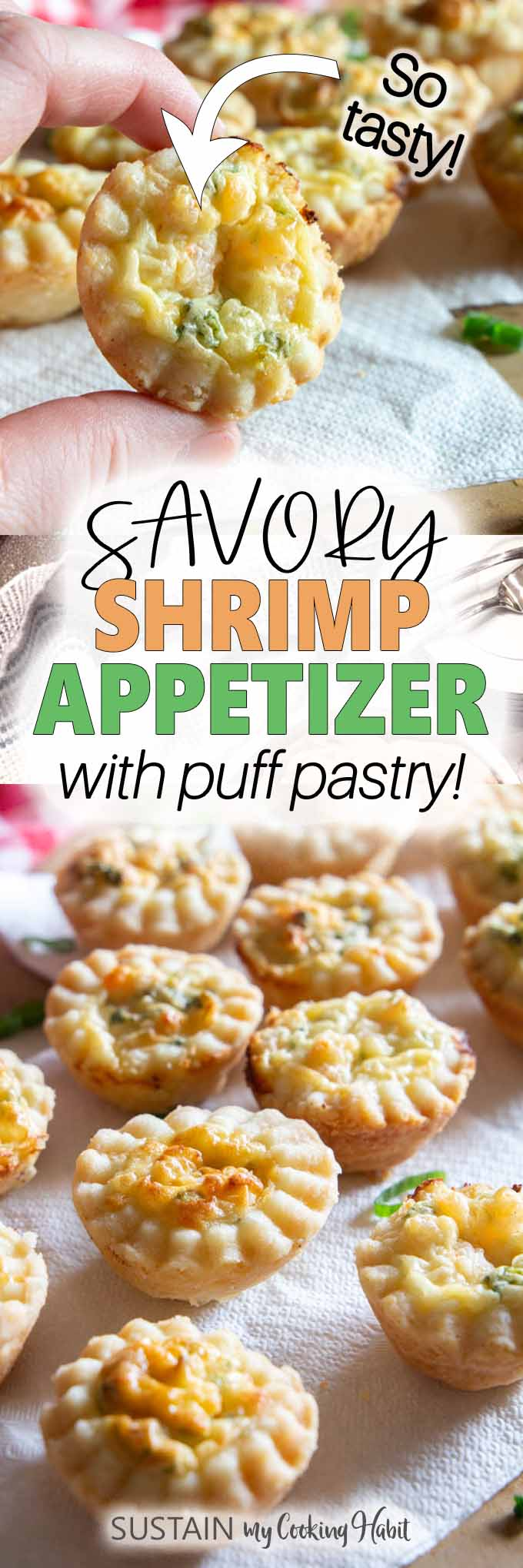 pinnable image for savory shrimp puff pastry