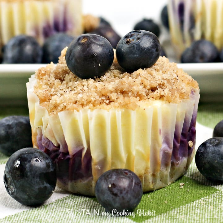single mini blueberry cheesecake with a soft crumbe topping and two fresh blueberries