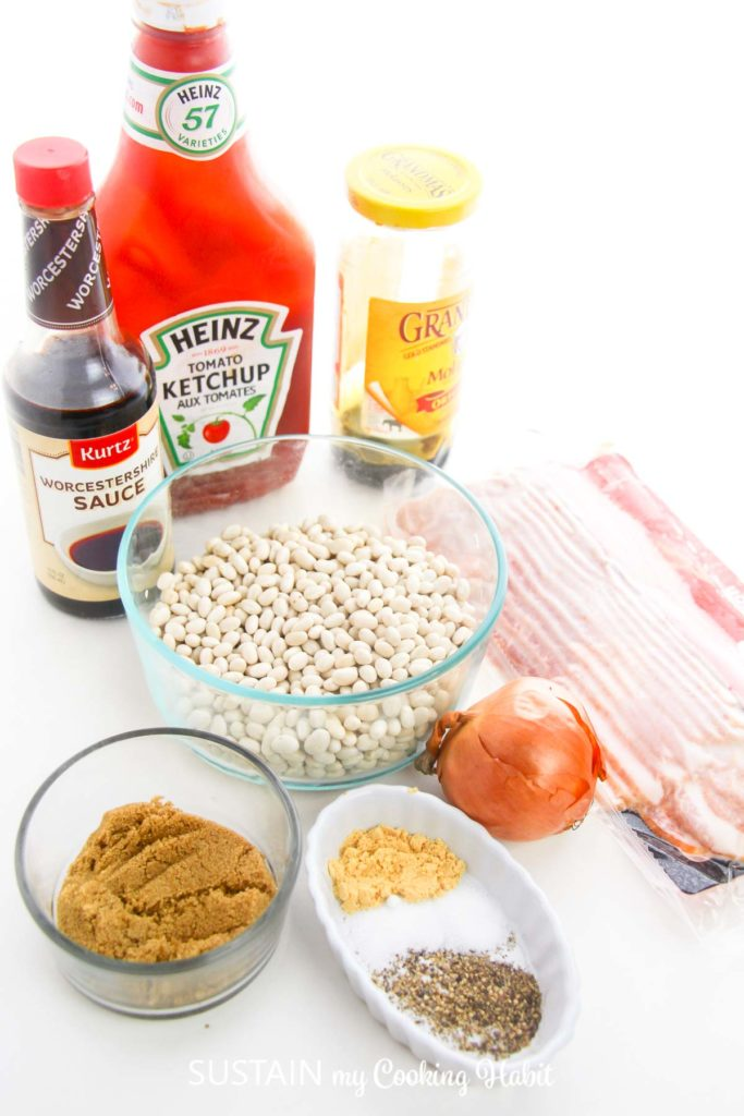 Ingredients needed to make Baked Boston beans.