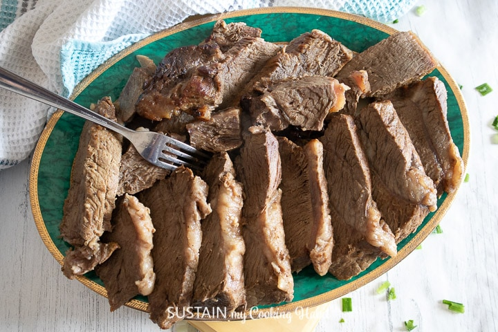 plate of roast beef slices