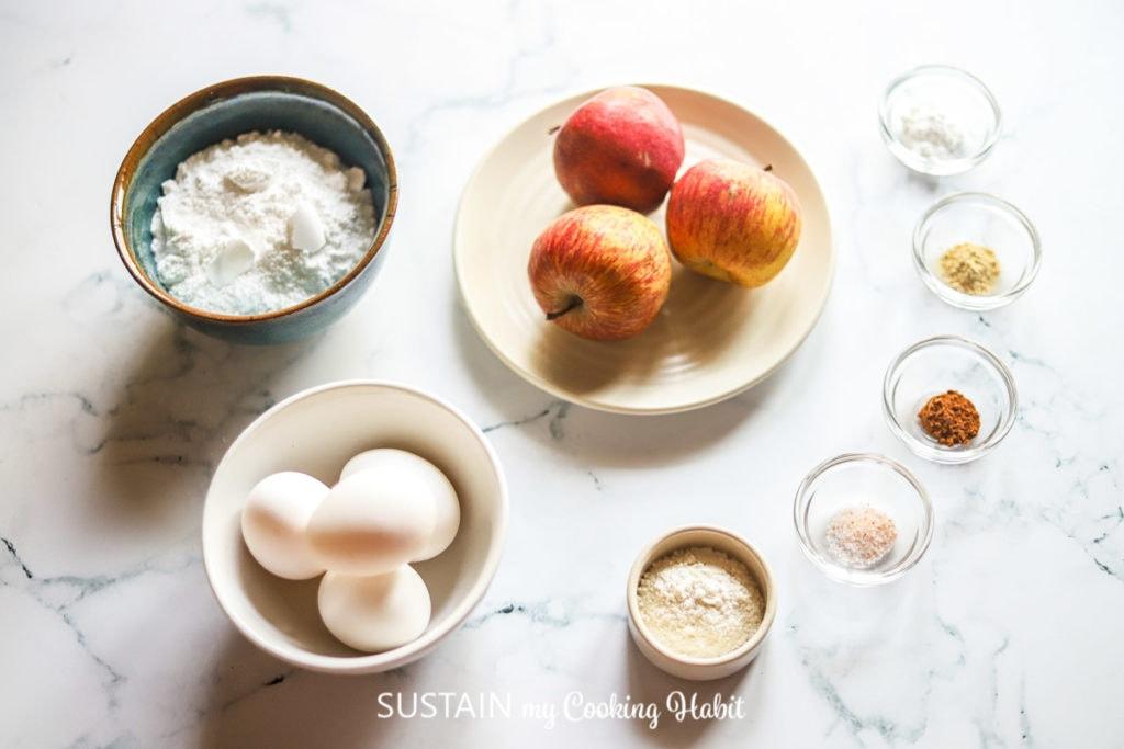 Ingredients needed to make apple pavlova.
