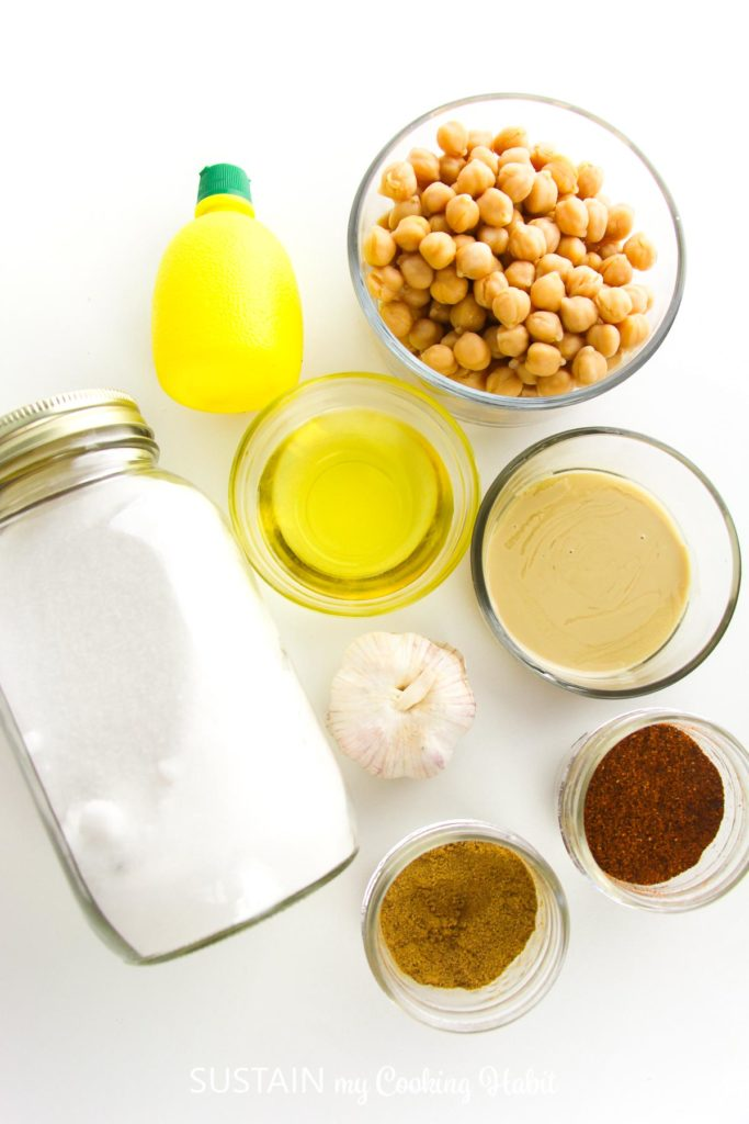 Ingredients needed to make homemade hummus.