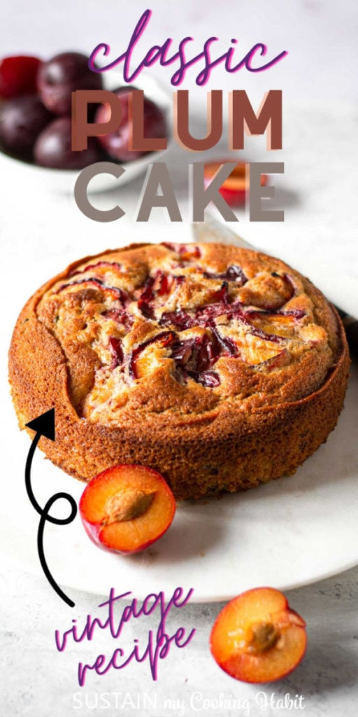 Arrow pointing to a classic plum cake with text overlay.
