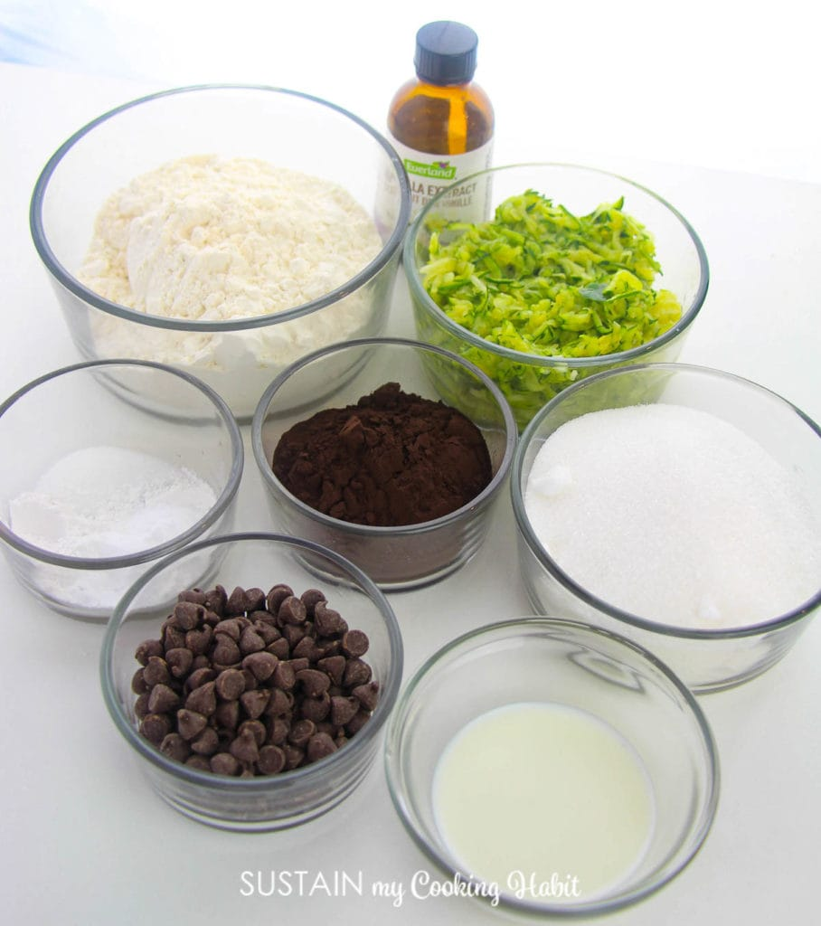 Ingredients needed to make double chocolate zucchini brownies.