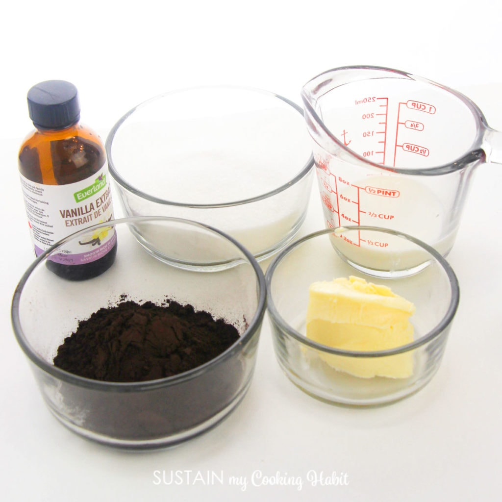 Ingredients needed to make chocoalte frosting.