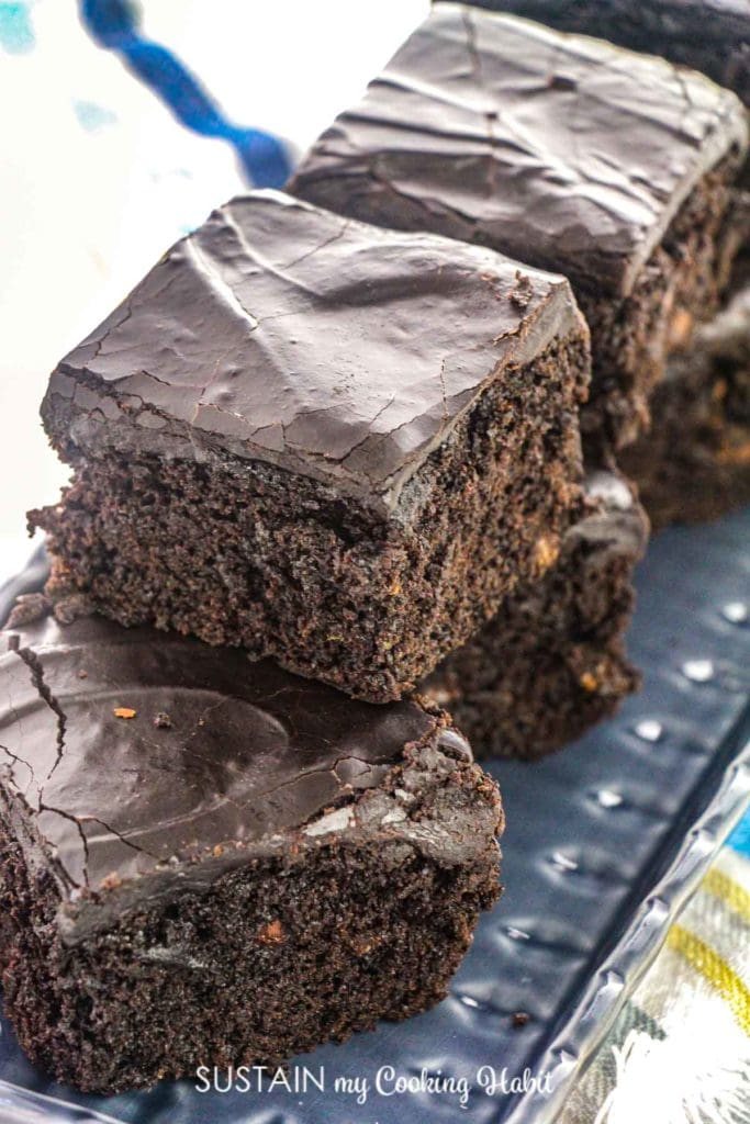 Double chocolate Zucchini brownies cut into squares.