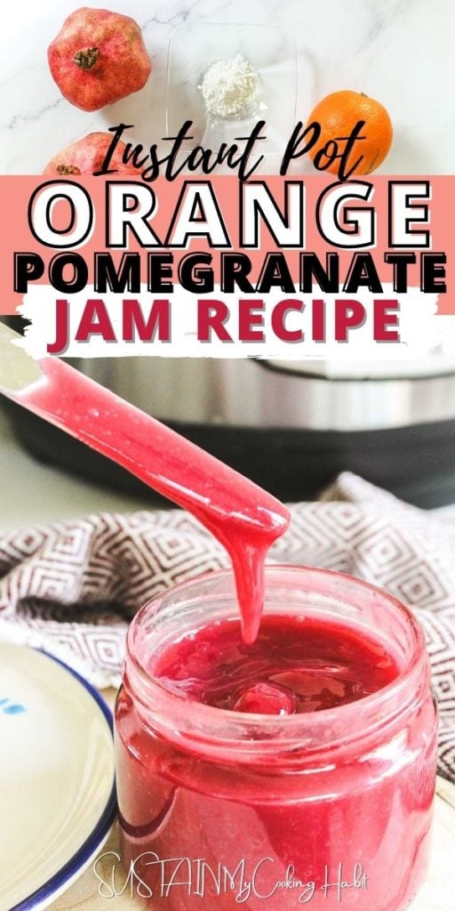 Instant pot orange pomegranate jam being scooped by a popsicle stick with text overlay.