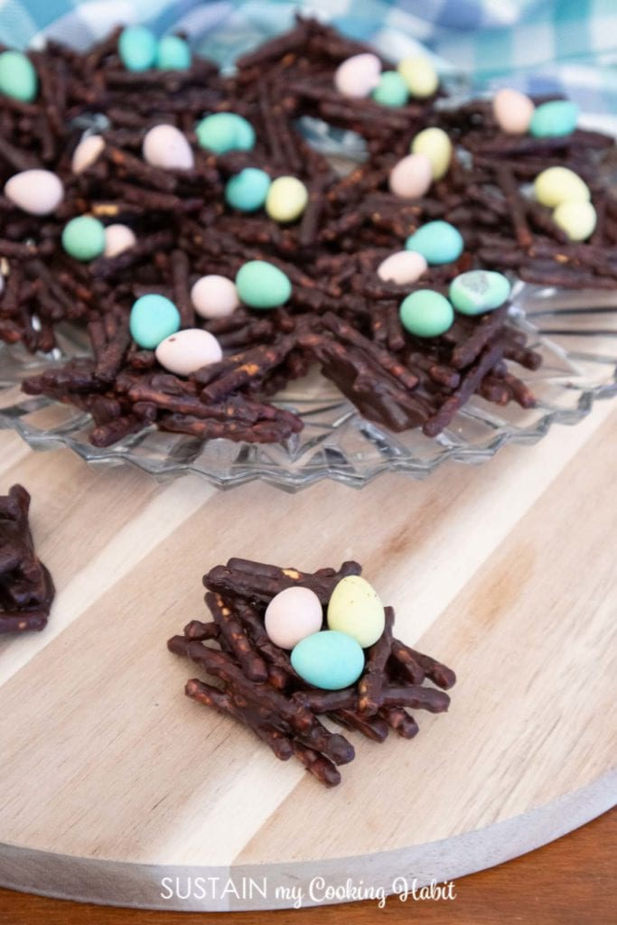 birds nest cookies on a table and clear plate.