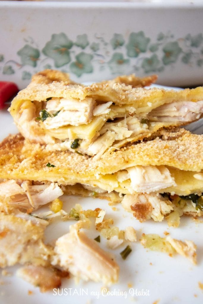 a plate of turkey filled crepes