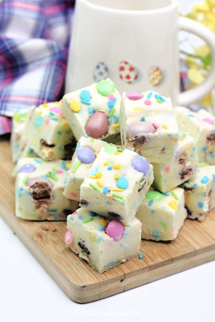 Easter chocolate fudge cut into pieces and stacked together.