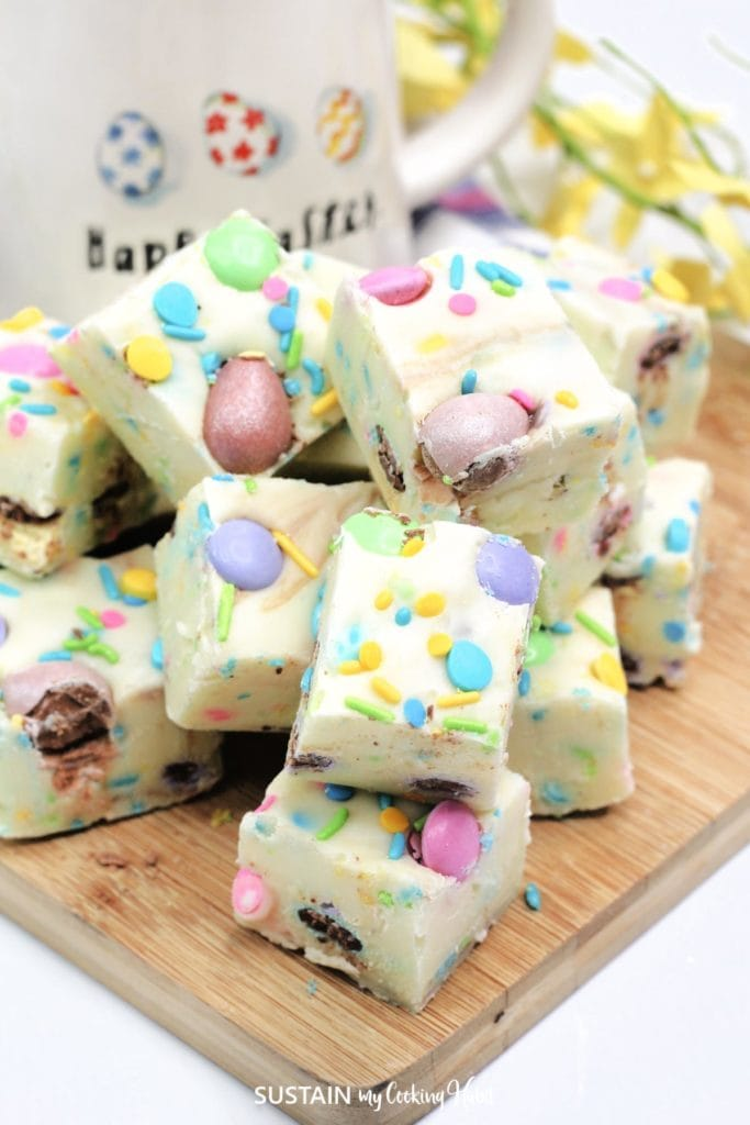 White chocolate fudge loaded with Easter sprinkles, chocolate eggs and M&Ms