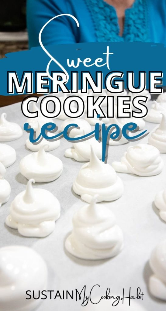 Piped meringue cookies on parchment paper with text overlay.