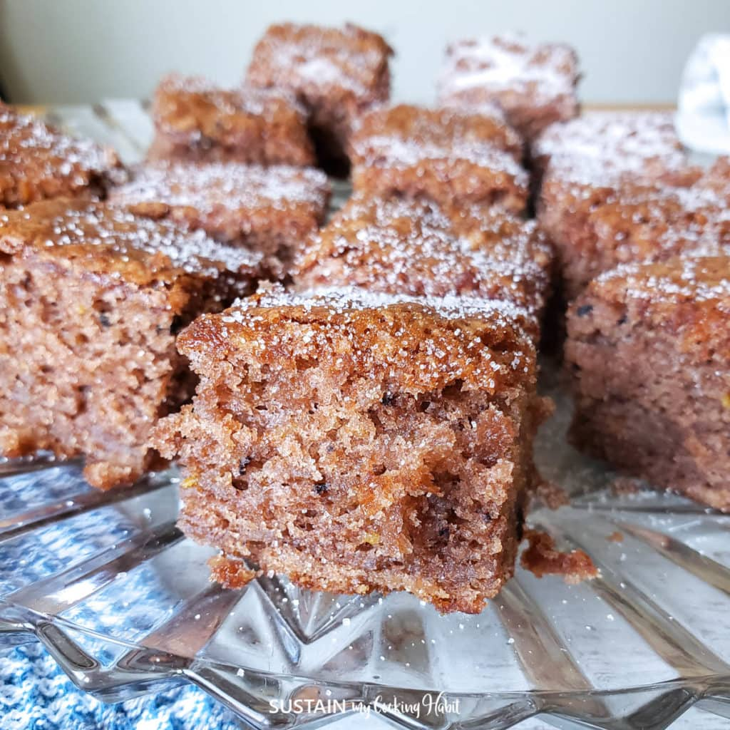 close up image of a slice of cocoa apple cake