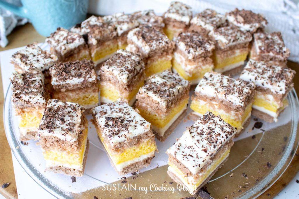 platter of layered honey cake, sprinkled with chocolate savings
