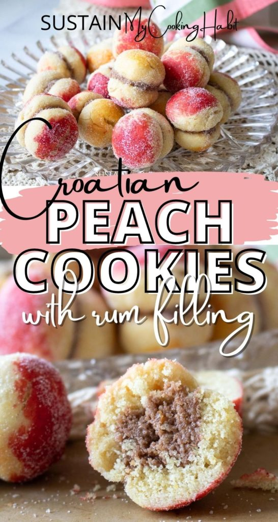 Collage of Croatian peach cookies with text overlay.