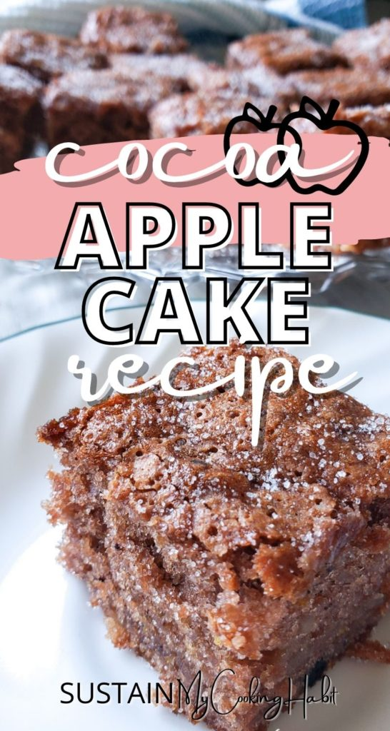 Cocoa apple cake cut into squares with text overlay.