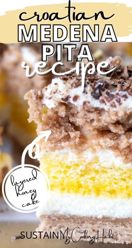 Close up of a piece of layered honey cake with text overlay.