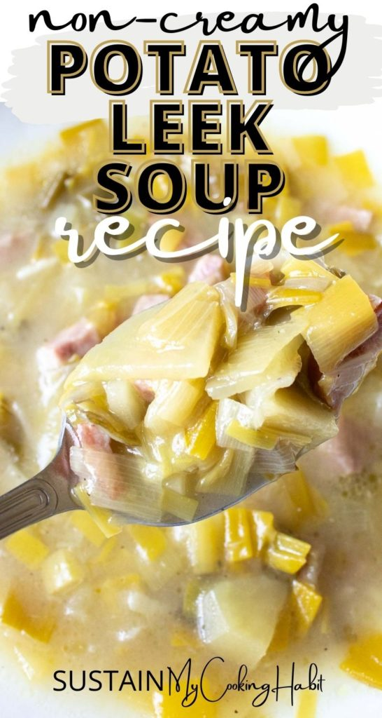 A spoonful of non creamy potato soup with text overlay.