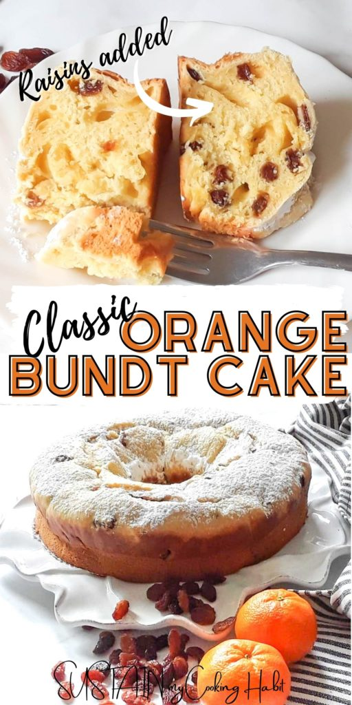 Orange bundt cake with powdered sugar, a slice on a plate and text overlay.