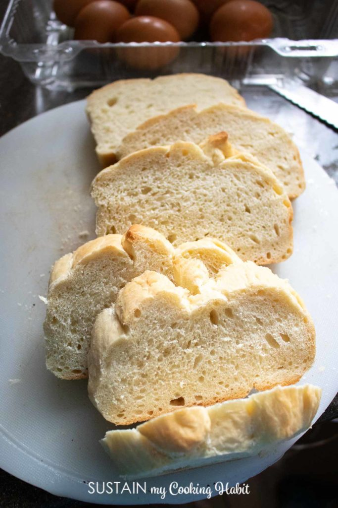 Sliced bread on a plate.