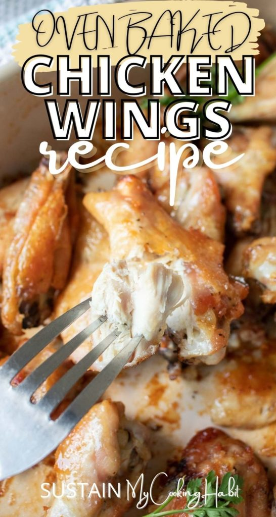 A fork piercing a baked chicken wing with text overlay.