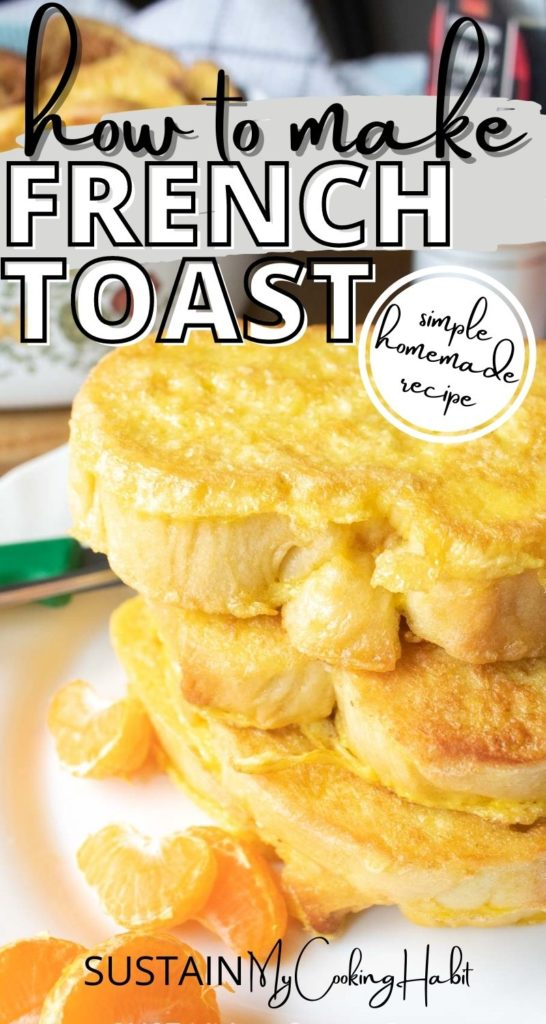 Stacked french toast on a plate with text overlay.