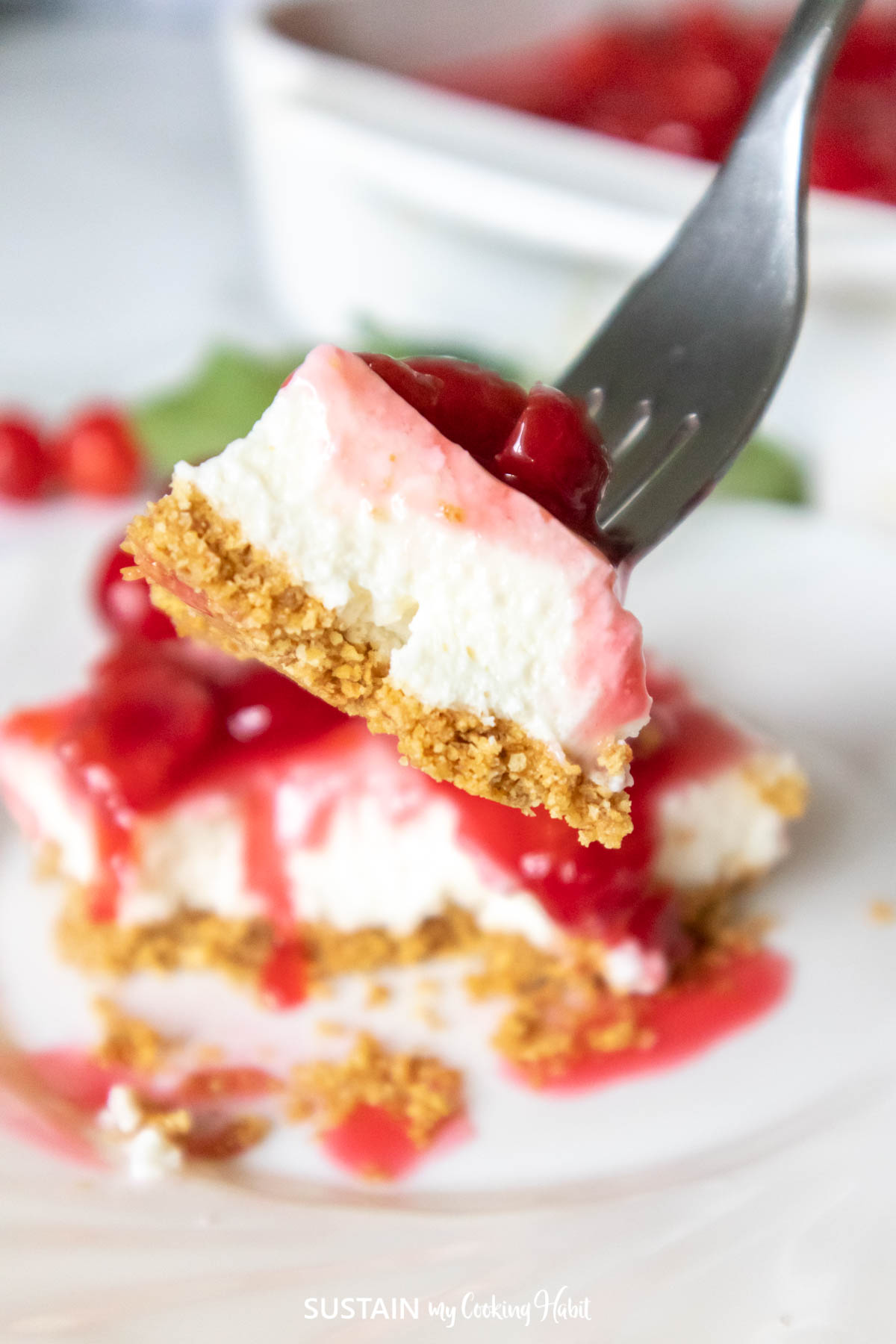 forkful of sour cherry cheesecake